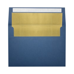 """LUX Foil-Lined Invitation Envelopes With Peel & Press Closure, A4, 4 1/4"""" x 6 1/4"""", Navy/Gold, Pack Of 250"""
