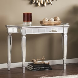Southern Enterprises Glenview Glam Mirrored Console Table, Rectangular, Matte Silver