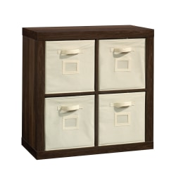 "Sauder® Stow-Away 4-Cube Organizer With Fabric Bins, 30-1/2""H x 30-7/8""W x 15-3/8""D, Smoked Oak"