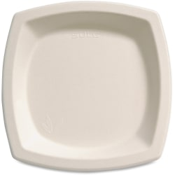 "Solo® Bare™ Sugar Cane Plates, 6 7/10"", Ivory, Bag Of 125"