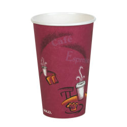 Solo® Paper Hot Cups, 16 Oz, Maroon, Carton Of 300 Cups