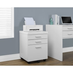 "Monarch Specialties 19""D Vertical 3-Drawer File Cabinet, White"
