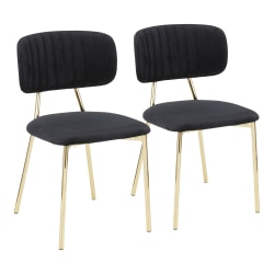 LumiSource Bouton Chairs, Gold/Black, Set Of 2 Chairs