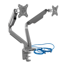 "Mount-It! MI-2762 Dual-Monitor Arm Mount With USB Port, 16""H x 10""W x 6.6""D, Silver"