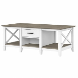 Bush Furniture Key West Coffee Table With Storage, Shiplap Gray/Pure White, Standard Delivery