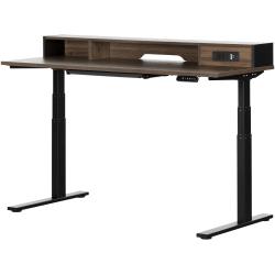 "South Shore Talie 60""W Height-Adjustable Standing Desk, Natural Walnut/Matte Black"