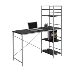 Monarch Specialties Metal Computer Desk With Bookcase, Cappuccino/Silver