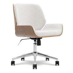 Elle Décor Ophelia Bentwood Fabric Mid-Back Task Chair, Ivory/Chrome