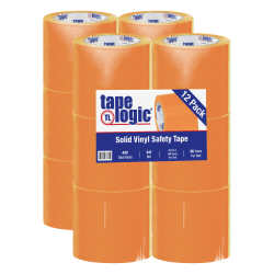 "BOX Packaging Solid Vinyl Safety Tape, 3"" Core, 4"" x 36 Yd., Orange, Case Of 12"
