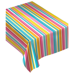 """Amscan Flannel-Backed Table Cover, 52"""" x 90"""", Summer Luau Stripes"""