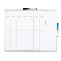 "U Brands Magnetic Dry-Erase White Calendar Whiteboard, 16"" x 20"", Aluminum Frame With Silver Finish"