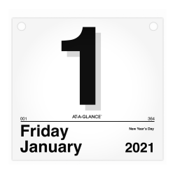 "AT-A-GLANCE® Today Is Daily Wall Calendar Refill, 8-1/2"" x 8"", January to December 2021, K450"