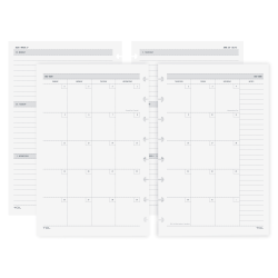 TUL® Discbound Academic Weekly/Monthly Planner Refill Pages, Junior Size, July 2020 To June 2021, TULJRFILR-AY