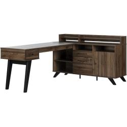 "South Shore Helsy 78""W L-Shaped Desk, Natural Walnut"