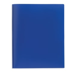 Office Depot® Brand 2-Pocket Poly Folder with Prongs, Letter Size, Blue