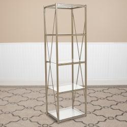 """Flash Furniture 64""""H 4-Shelf Cross Brace Bookcase, Clear/Matte Gold"""