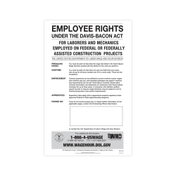 """ComplyRight™ Federal Contractor Posters, Davis-Bacon Act, English, 11"""" x 17"""""""