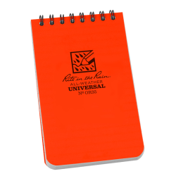 """Rite in the Rain All-Weather Spiral Notebooks, Top, 3"""" x 5"""", 100 Pages (50 Sheets), Orange, Pack Of 12 Notebooks"""