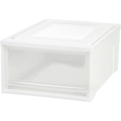 """IRIS Stackable Storage Box Drawer - External Dimensions: 19.6"""" Length x 15.8"""" Width x 9"""" Height - 15 lb - 7.72 gal - Stackable - Plastic - Clear, White - For Clothes, Craft Supplies, Towel - 3 / Carton"""