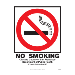 """ComplyRight City & County Specialty Posters, English, San Francisco, No Smoking, 8 1/2"""" x 11"""""""