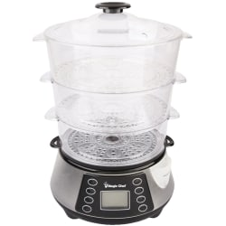 Magic Chef 3-Layer Food Steamer - 800 W2 quart - Rice, Fish, Egg, Chicken - Stainless Steel