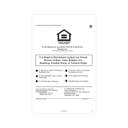 """ComplyRight Federal Specialty Posters, English, Federal Fair Housing, 11"""" x 17"""""""