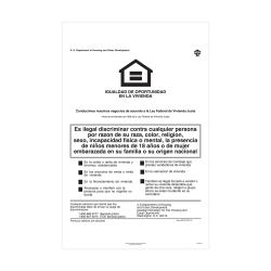 """ComplyRight Federal Specialty Posters, Spanish, Federal Fair Housing, 11"""" x 17"""""""