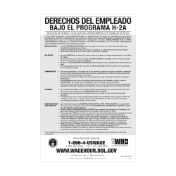 """ComplyRight™ Federal Specialty Posters, Employee Rights Under The H-2A Program, Spanish, 11"""" x 17"""""""