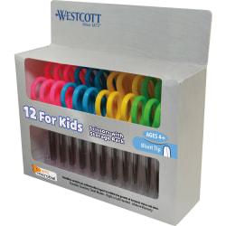 "Westcott® Kids Microban® School Pack Scissors, 5"", Blunt, Assorted Colors, Pack Of 12"