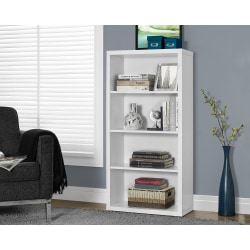 Monarch Specialties 3-Shelf Adjustable Bookcase, White