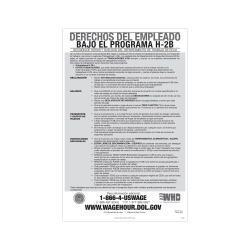 """ComplyRight™ Federal Specialty Posters, Employee Rights Under The H-2B Program, Spanish, 11"""" x 17"""""""