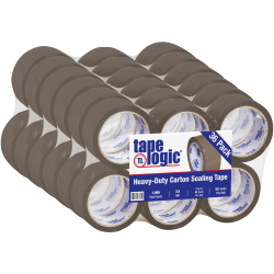 "Tape Logic® #350 Industrial Acrylic Tape, 3"" Core, 2"" x 55 Yd., Tan, Case Of 36"