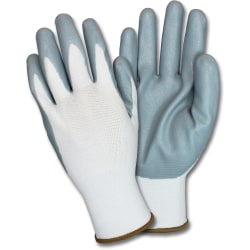 Safety Zone Nitrile Coated Knit Gloves - Hand Protection - Nitrile Coating - Small Size - Gray, White - Durable, Finger Protection, Flexible, Breathable, Knitted, Comfortable - For Industrial - 72 / Carton