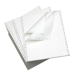 """Office Depot® Computer Paper, 2-Part, Standard Perforation, Carbonless, 9 1/2"""" x 11"""", 15 Lb, White, Carton Of 500 Forms"""