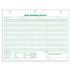 "TOPS® Daily Attendance Record, 8 1/2"" x 11"", Pack Of 50"