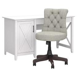 """Bush Furniture Key West 54""""W Computer Desk With Mid-Back Tufted Office Chair, Pure White Oak, Standard Delivery"""