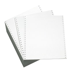"Office Depot® Brand Computer Paper, Clean Edge, Bond, 9 1/2"" x 11"", 20 Lb, White, Carton Of 2,300 Forms"