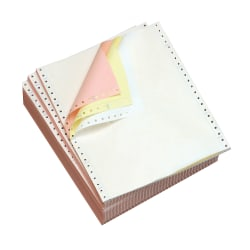 "Office Depot® Brand Computer Paper, 3-Part, Clean Edge, Carbonless, 9-1/2"" x 11"", 15 Lb, Multicolor, Carton Of 1000 Forms"