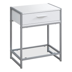 Monarch Specialties Side Accent Table With Glass Shelf, Rectangular, White/Silver