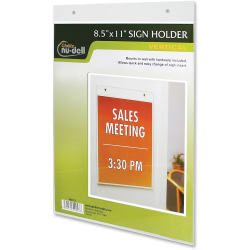 "NuDell Acrylic Sign Holders - Support 8.50"" x 11"" Media - Acrylic - 1 / Each - Clear"