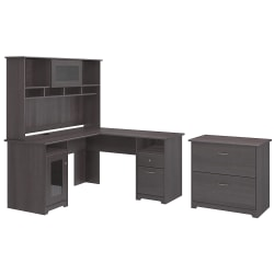 """Bush Furniture Cabot 60""""W L-Shaped Desk With Hutch And Lateral File Cabinet, Heather Gray, Standard Delivery"""