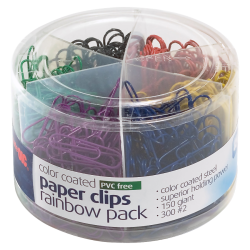 Officemate® Nylon-Coated Paper Clips, No. 2/Giant, Assorted Colors, Tub Of 450 Clips