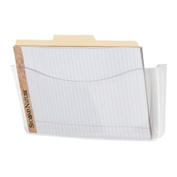 "Rubbermaid® Unbreakable Single-Pocket Wall File, Letter Size, 6 13/16""H x 13 3/4""W x 3""D, Clear"