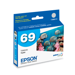 Epson® 69, (T069220-S) DuraBrite® Ultra Cyan Ink Cartridge