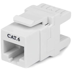 StarTech.com 180° Cat 6 Keystone Jack - RJ45 Ethernet Cat6 Wall Jack White - 110 Type - 1 Pack - 1 x RJ-45 Female - White