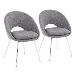 LumiSource Metro Chairs, Gray Noise/Chrome, Set Of 2 Chairs