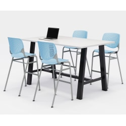 """KFI Midtown Bistro Table With 4 Stacking Chairs, 41""""H x 36""""W x 72""""D, Designer White/Sky Blue"""
