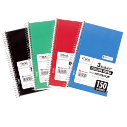 """Mead® Wirebound Notebook, 6"""" x 9 1/2"""", 3 Subject, College Ruled, 300 Pages (150 Sheets), Assorted Colors"""