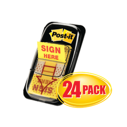 "Post-it® Message Flags, ""Sign Here"", 1"" x 1-11/16"", Yellow, 50 Flags Per Pad, Pack Of 24 Pads"