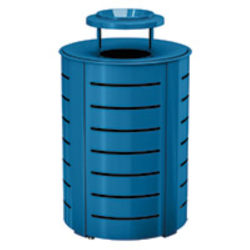 Suncast Commercial Metal Trash Can With Lid, 35-Gallon, Blue